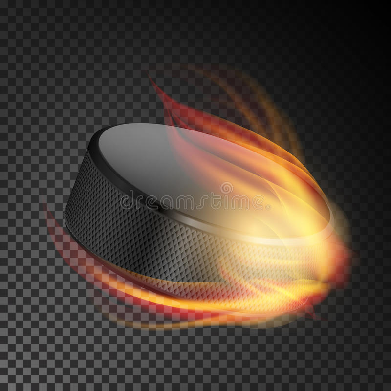 Realistic Ice Hockey Puck In Fire. Burning Hockey Puck On Transparent Background. Vector Illustration stock illustration