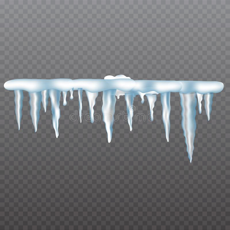 Realistic icicles with snow set on transparent background. vector illustration