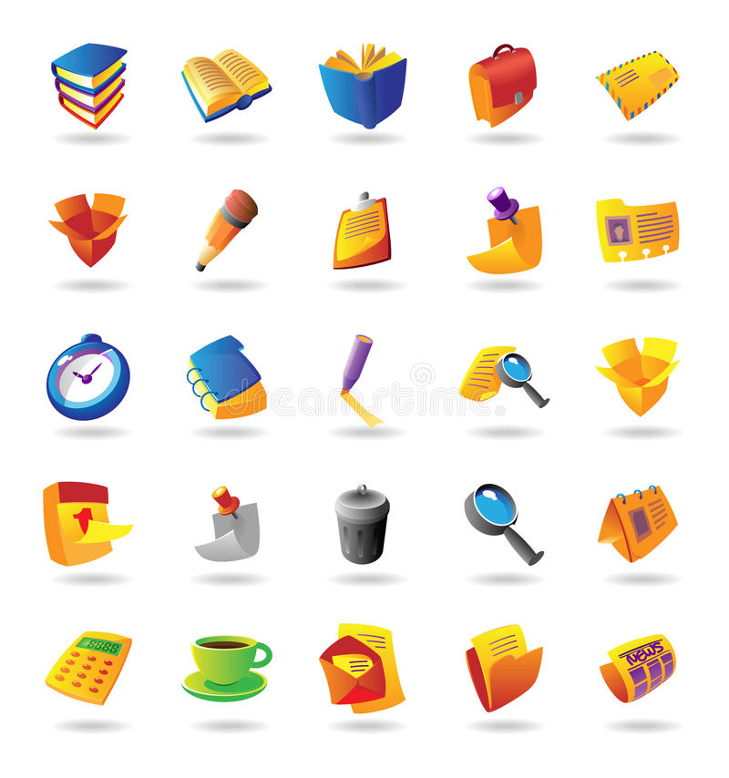 Free Realistic Icons Set For Office Themes Royalty Free Stock Images - 14487079