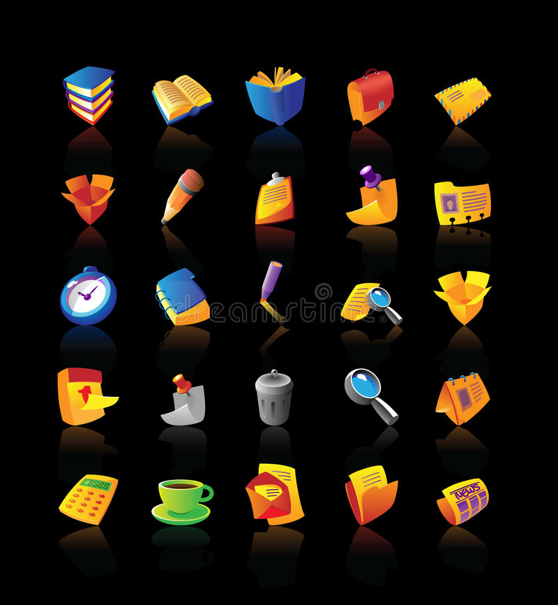 Download Realistic Icons Set For Office Stock Vector - Image: 13604233