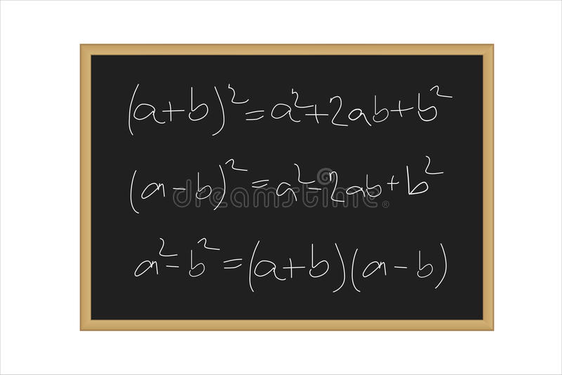 Realistic illustration of a black board with mathematical formulas written in chalk royalty free illustration
