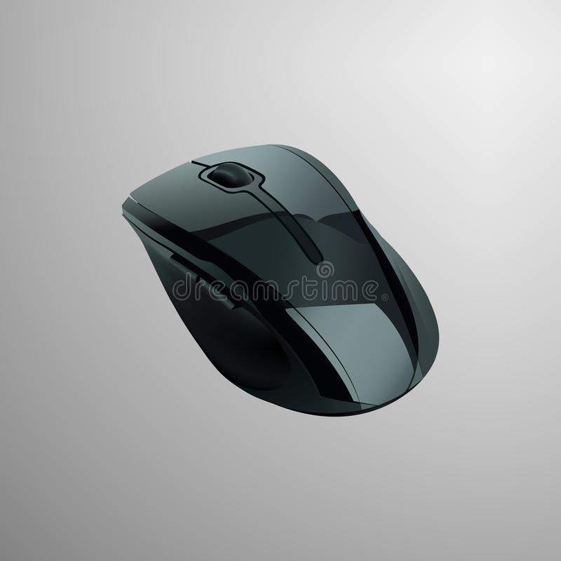 Realistic illustration of a black computer mouse. In modern sleek shiny design vector illustration