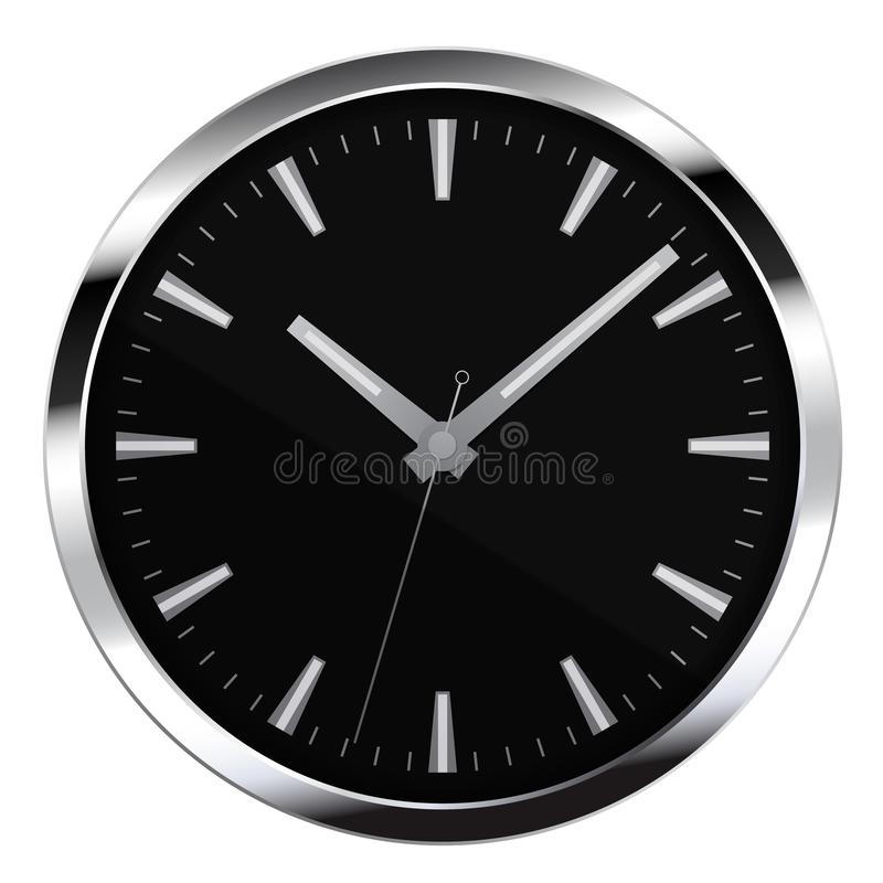 Realistic illustration of black watch face without numbers with minute, hour and second hand, isolated on white background, vector. Realistic illustration of vector illustration