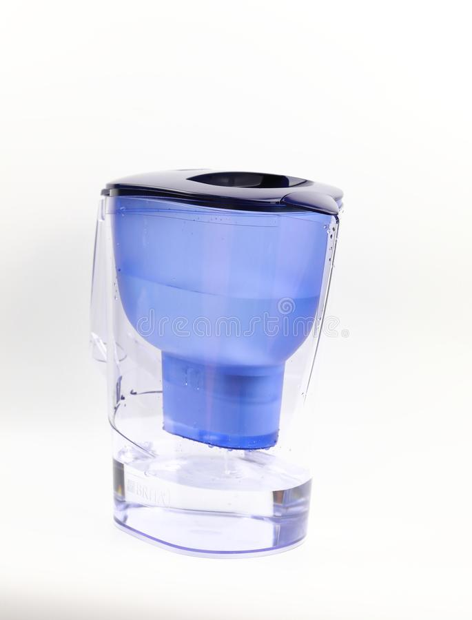 Water Purifier Clean water ,Pitcher with water filter for purification stock images
