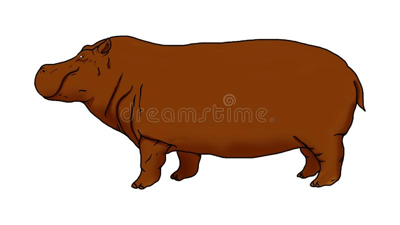 Realistic illustration of a brown hippopotamus. You can use this lettering as you want stock illustration