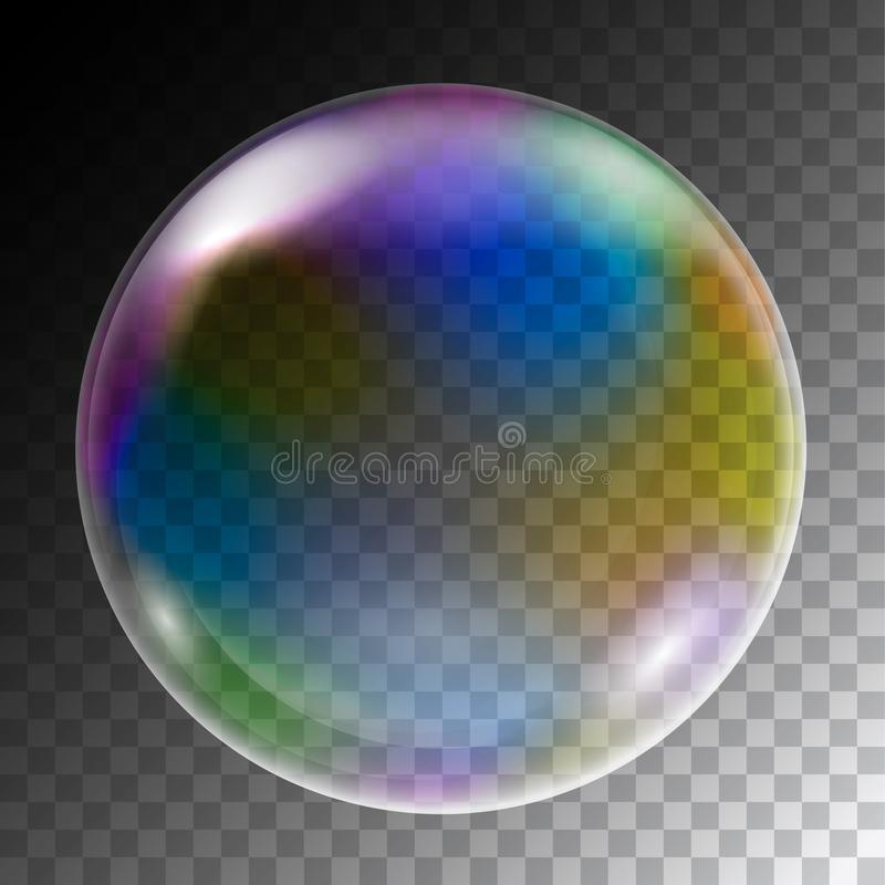 Realistic illustration of colorful soap bubbles of round shape w vector illustration