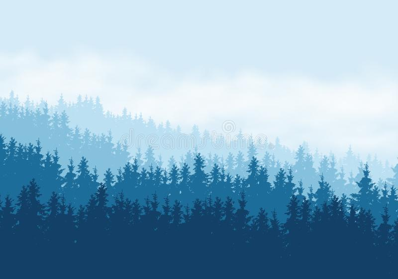 Realistic illustration of coniferous forest under blue sky with royalty free illustration
