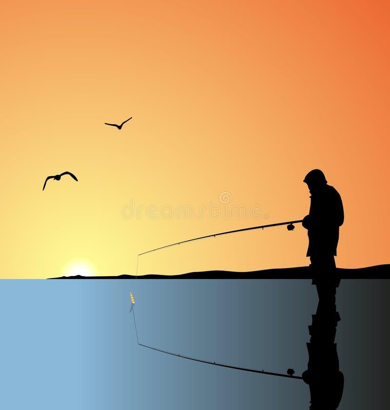 Realistic illustration fishing on lake vector illustration