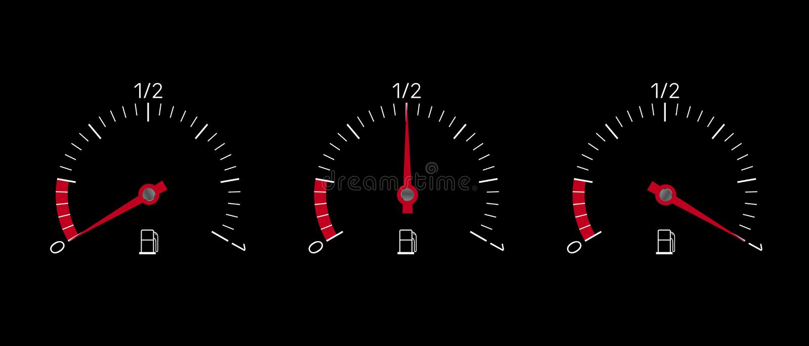 Realistic illustration of fuel indicator set with full, empty and half tank. Isolated on black background, vector stock illustration