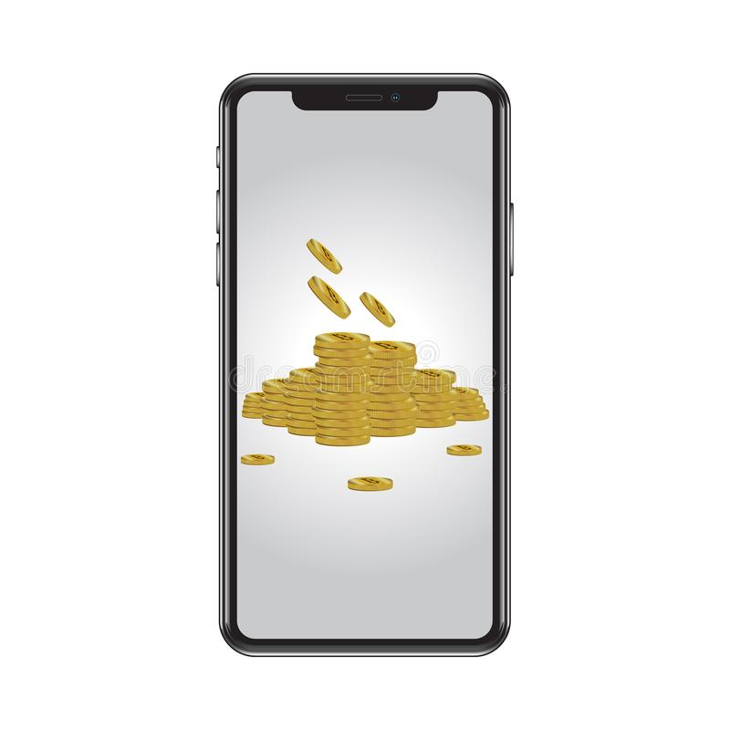 Realistic illustration of a high quality phone, on the screen exchangeable wallpaper, gold coins stock illustration