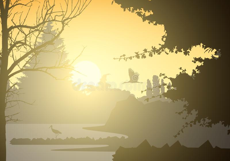 Realistic illustration of landscape and wetland with standing and flying bird and trees. Rising sun with beams on morning yellow royalty free illustration