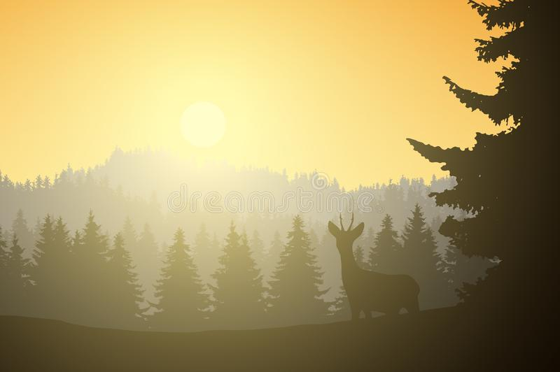 Realistic illustration of mountain landscape with coniferous forest and deer, under a morning yellow sky with sunshine, vector royalty free illustration