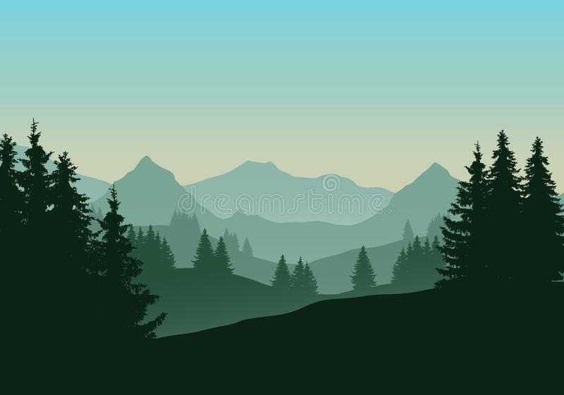 Realistic illustration of mountain landscape with coniferous for stock illustration
