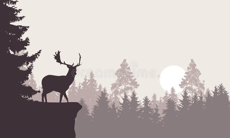 Realistic illustration of a mountain landscape with a forest with deer standing on a rock. Retro sky with rising sun or moon, vector illustration