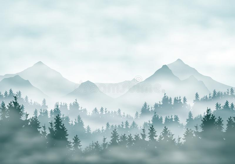 Realistic illustration of mountain landscape silhouettes with forest and coniferous trees. Fog haze or clouds under green-blue sky stock illustration