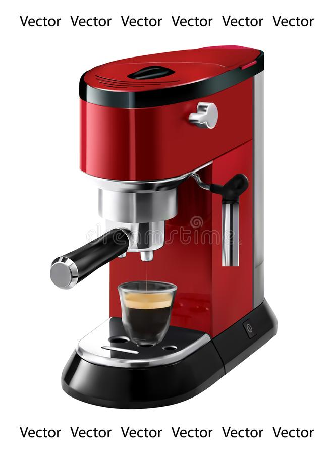 Realistic illustration of red coffee maker - vector stock illustration
