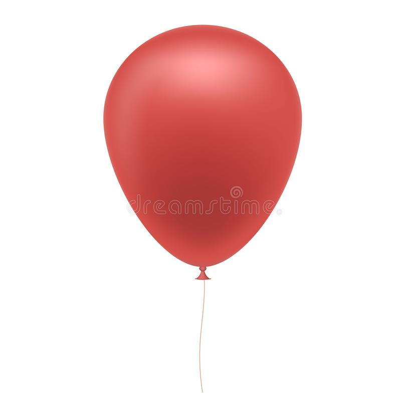 Realistic illustration of red inflatable balloon with brown string, isolated on white background. Vector vector illustration