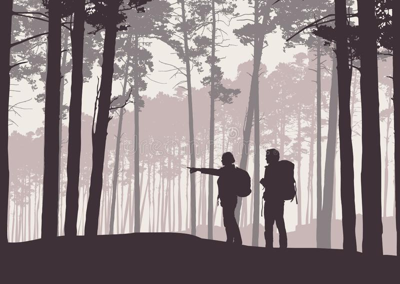 Realistic illustration of retro landscape silhouettes with forest and coniferous trees. Two hikers, man and woman with backpacks. stock illustration