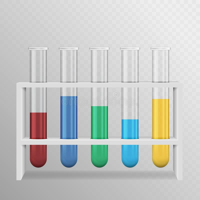 A realistic illustration of a set of laboratory test tubes with color liquid and a white stand.  on transparent background vector illustration