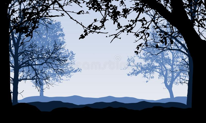 Realistic illustration of silhouettes of blue landscape with forest and deciduous trees. Branches with autumn leaves and blue sky stock illustration