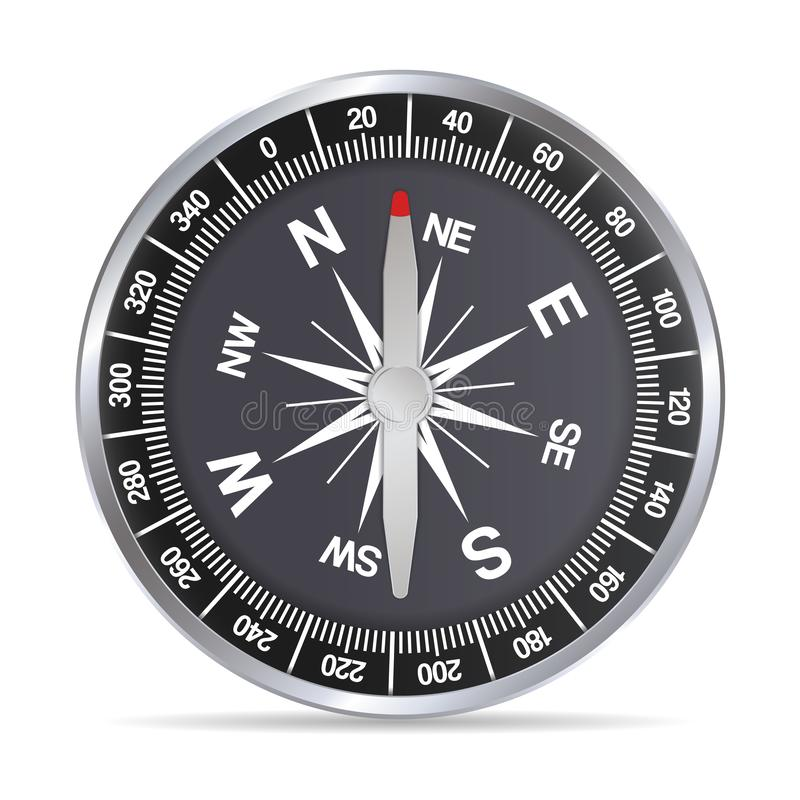 Realistic illustration of a silver aluminum compass with a red needle and a black background stock illustration