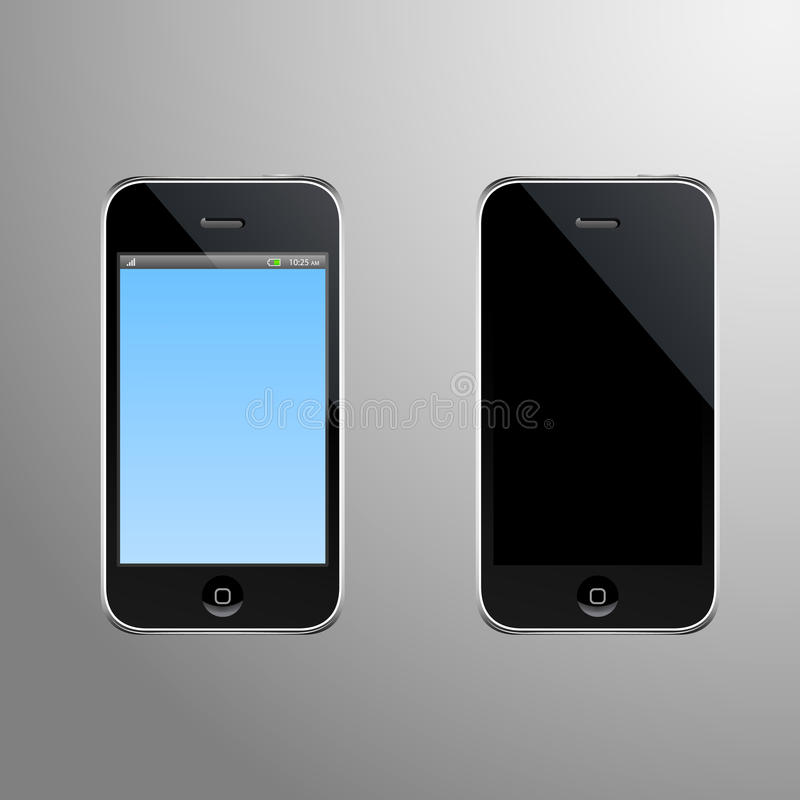 Realistic Illustration of a smart phone with editable screen and screen when its off vector illustration