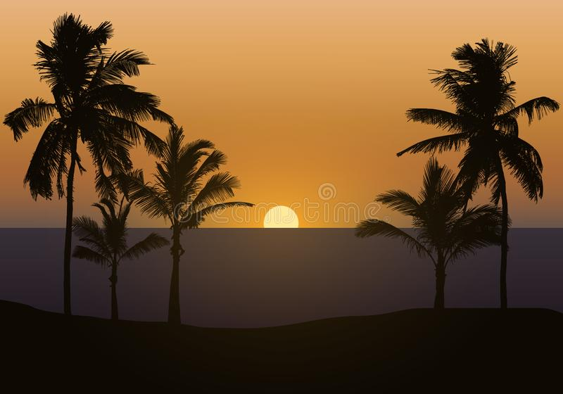 Realistic illustration of sunset over sea or ocean with beach and palm trees. Orange sky and space for text, vector vector illustration