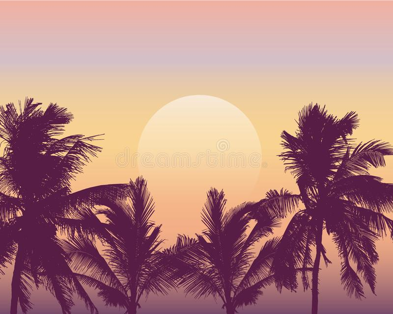 Realistic illustration of sunset over sea or ocean with palm trees. Orange, pink and yellow sky and space for text, vector royalty free illustration