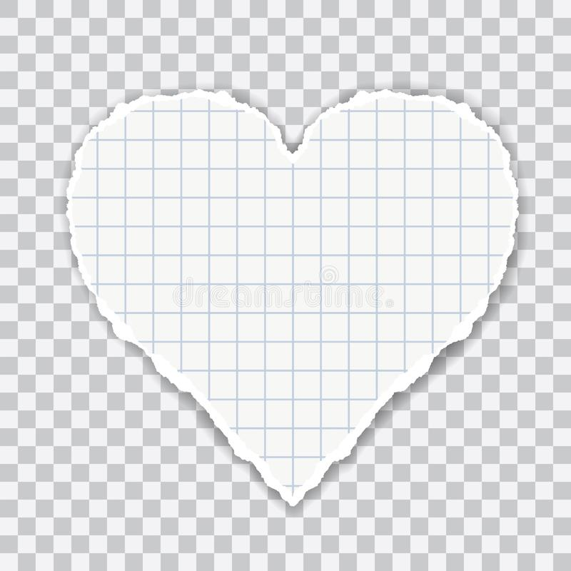Realistic illustration of torn squared paper in heart shape. Isolated on transparent background, vector stock illustration
