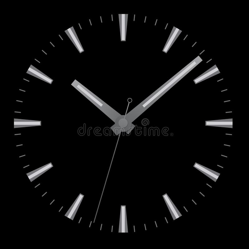 Realistic illustration of watch face without numbers with minute, hour and second hand, isolated on black background, vector. Realistic illustration of watch vector illustration