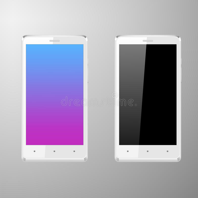 Realistic illustration of a white smartphone with editable screen vector illustration