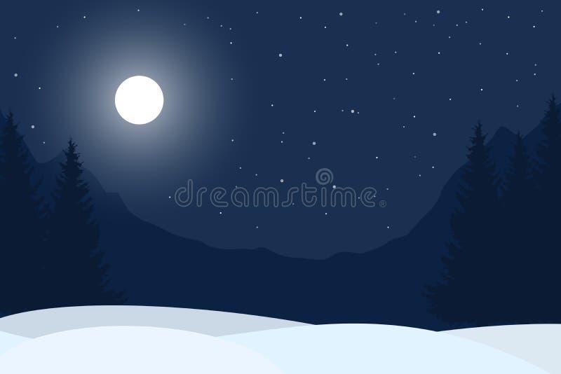 Realistic illustration of winter night mountain landscape vector illustration