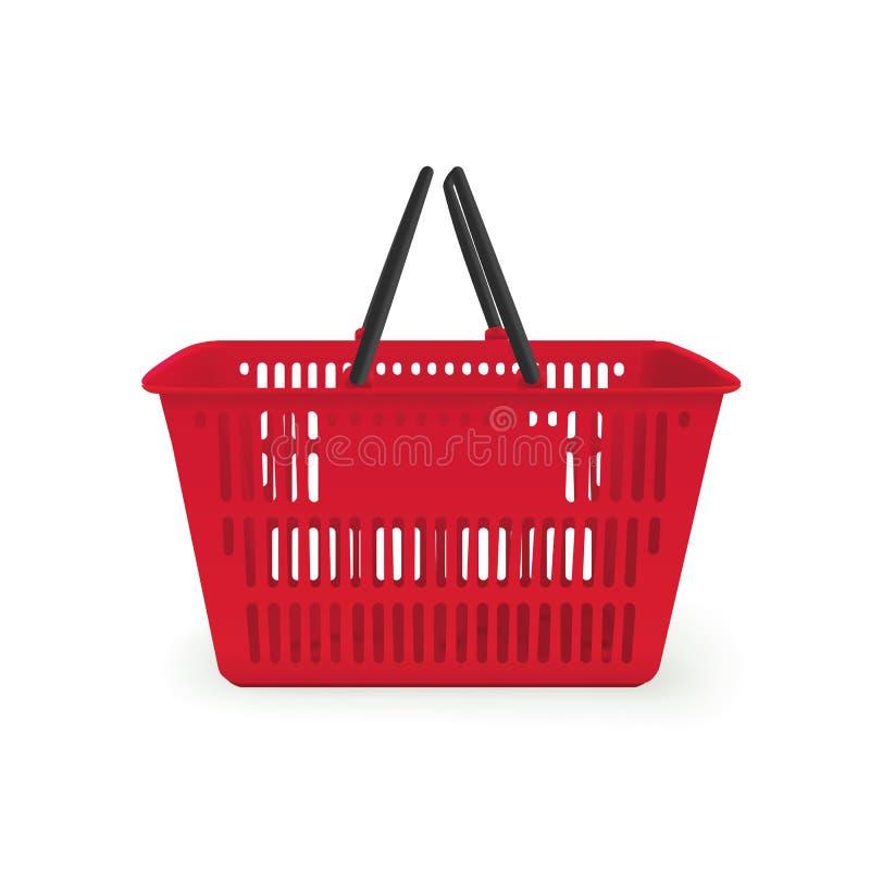 Realistic image of empty plastic shopping basket stock illustration