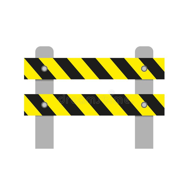 Realistic image of a road barrier with yellow stripes on a white background. Isolated object, road safety sign. Vector illustratio royalty free illustration