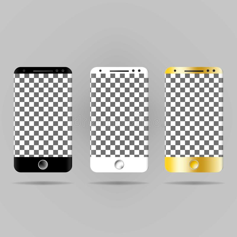 A realistic image of a white, black and gold smartphone. vector illustration
