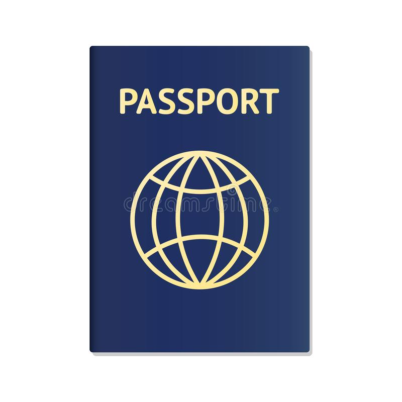 Realistic international passport blue cover template. Passport document ID. International pass for tourism travel royalty free illustration