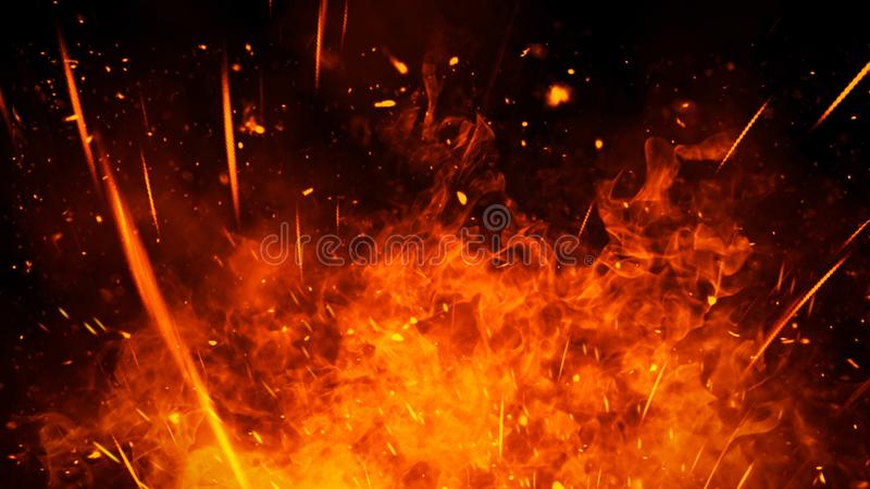 Realistic isolated fire effect for decoration and covering on black background. Concept of particles,flame and light. Realistic isolated fire effect for stock photos