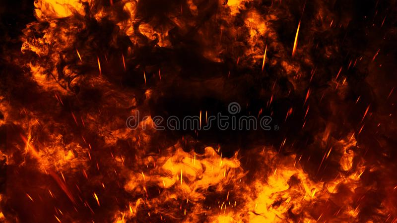 Realistic isolated fire effect for decoration and covering on black background. Concept of particles,flame and light. Realistic isolated fire effect for stock images