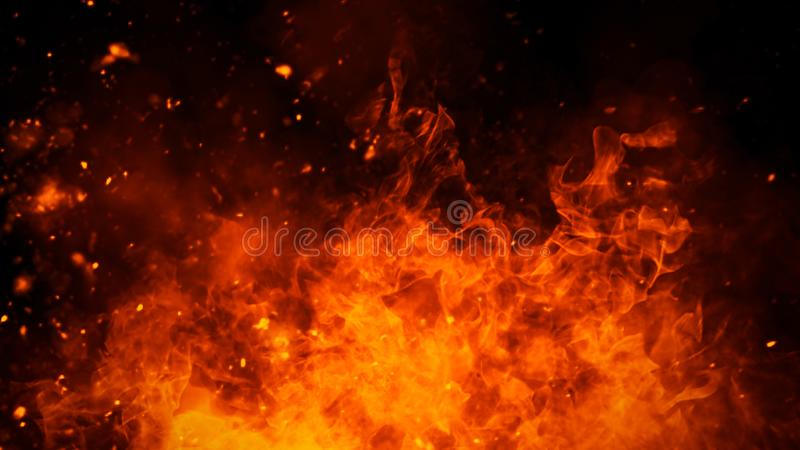 Realistic isolated fire effect for decoration and covering on black background. Concept of particles,flame and light. Realistic isolated fire effect for royalty free stock images