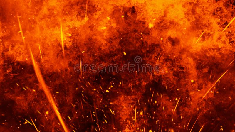 Realistic isolated fire effect for decoration and covering on black background. Concept of particles,flame and light. Realistic isolated fire effect for royalty free stock photography