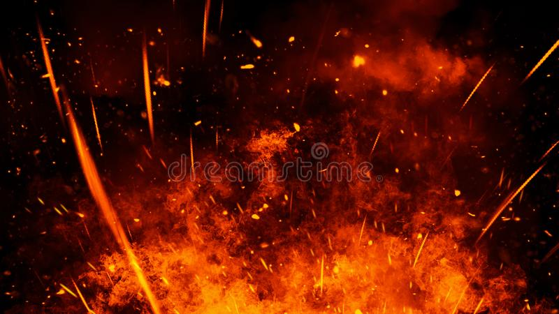 Realistic isolated fire effect for decoration and covering on black background. Concept of particles,flame and light. Realistic isolated fire effect for stock photo