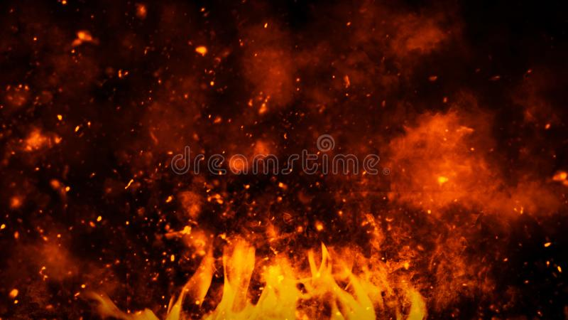Realistic isolated fire effect for decoration and covering on black background. Concept of particles,flame and light. Realistic isolated fire effect for stock photography