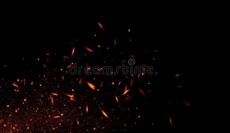 Realistic isolated fire effect for decoration and covering on black background. Concept of particles , sparkles, flame and light stock illustration