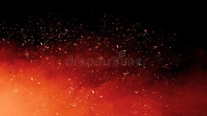 Realistic isolated fire effect with smoke for decoration and covering on black background. Concept of particle , sparkles. Fire particle debris on smoke black stock images