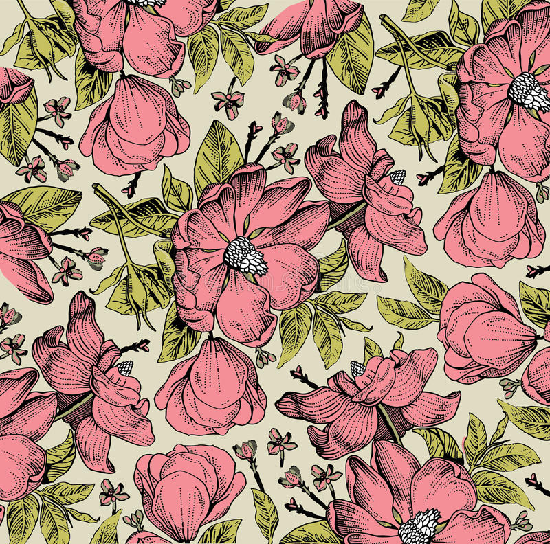 Realistic isolated flowers pattern. Vintage baroque background. Rose dogrose, rosehip, brier. Wallpaper. Drawing engraving. Realistic isolated flowers pattern royalty free illustration
