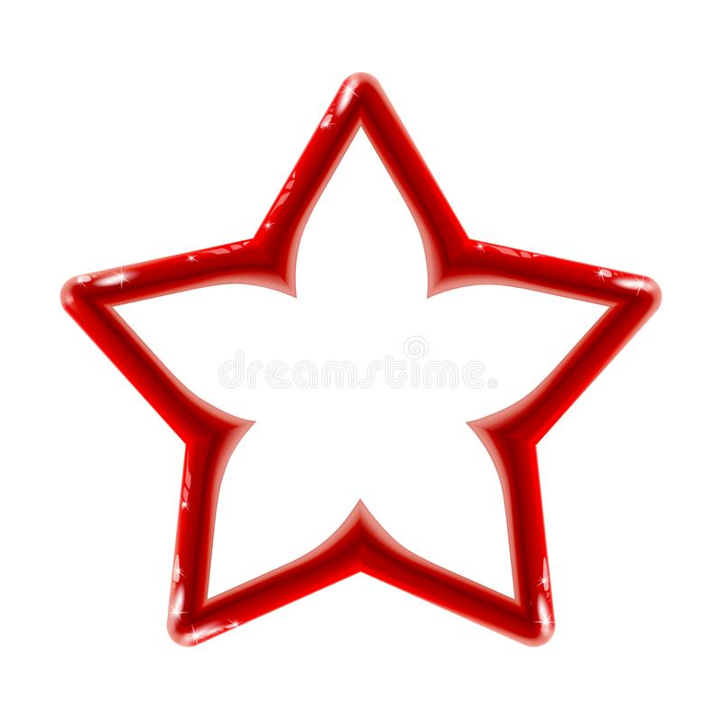 Realistic isolated glossy red sign of star icon for decor on light background. Bright toy plastic frame. Design for flyer, banner. Poster. Vector illustration royalty free illustration