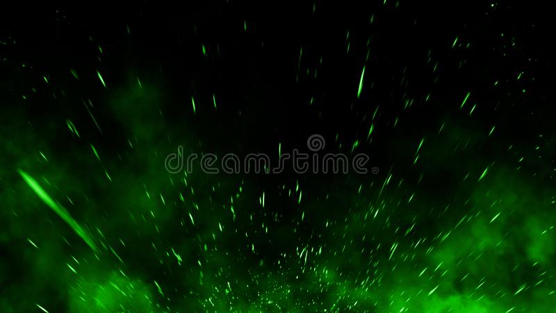 Realistic isolated green effect for decoration and covering on black background. Concept of particles , sparkles, flame and light. Realistic isolated green stock images