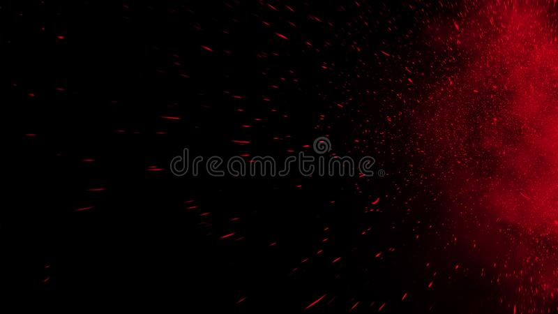 Realistic isolated red effect for decoration and covering on black background. Concept of particles , sparkles, flame and light. Realistic isolated red effect royalty free stock photography