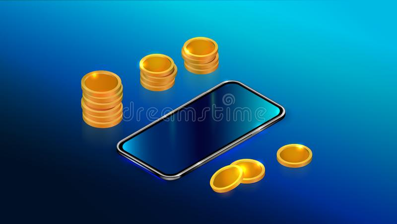 Realistic isometric black smartphone with blank touch screen and gold coins stack isolated on blue background. vector illustration