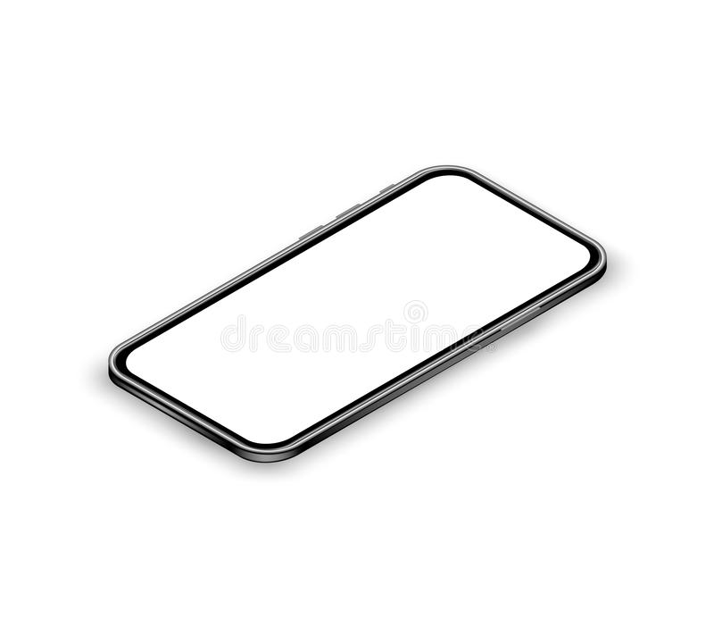 Realistic isometric smartphone concept. Mobile phone mockup with blank touchscreen on white background. Banner for digital marketi stock illustration